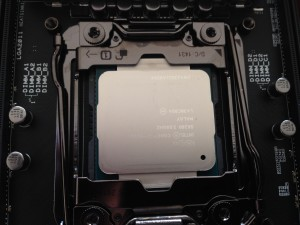 Intel Haswell 5930K processor installed on motherboard